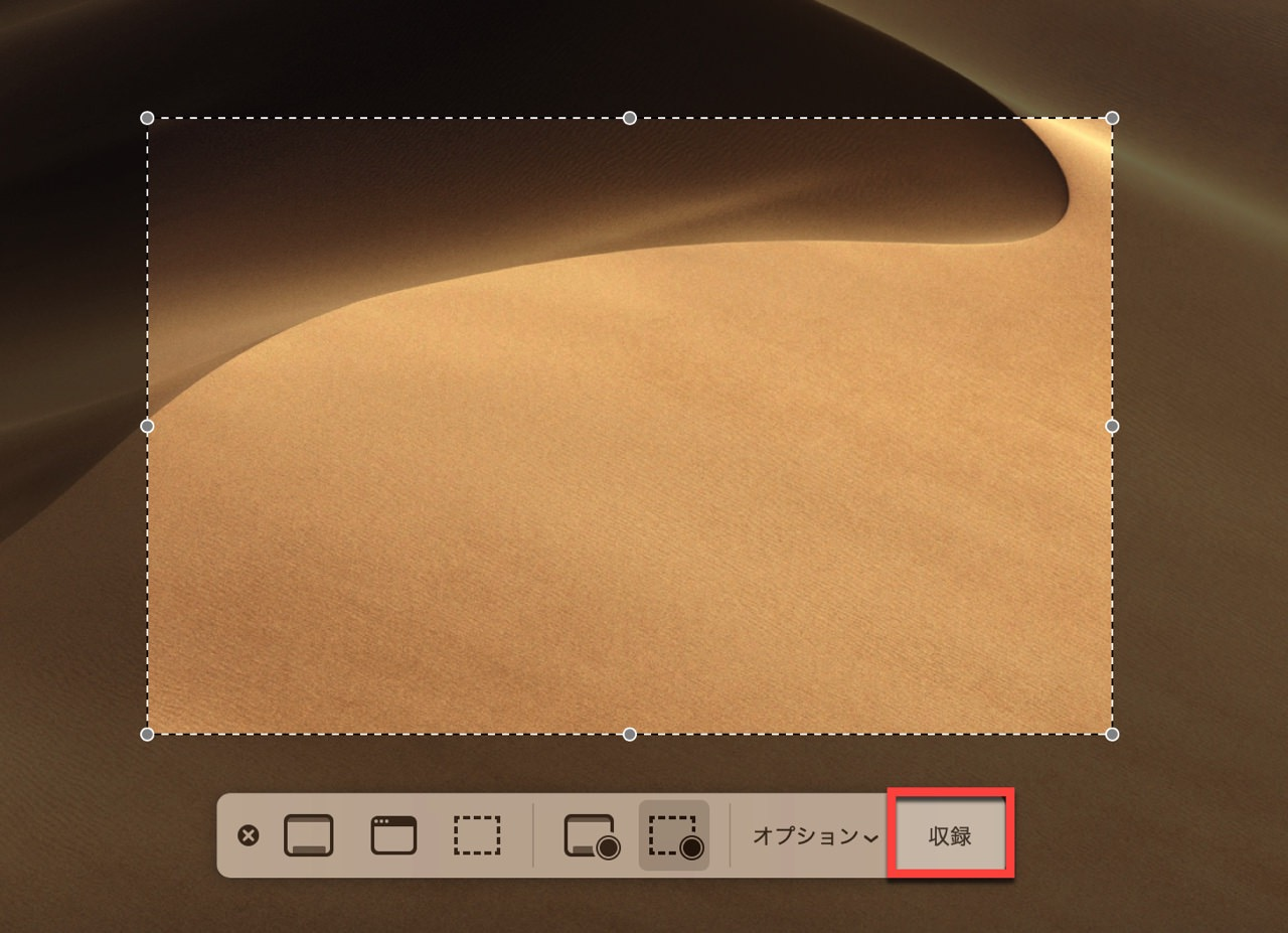 点線で囲った部分を動画収録できる