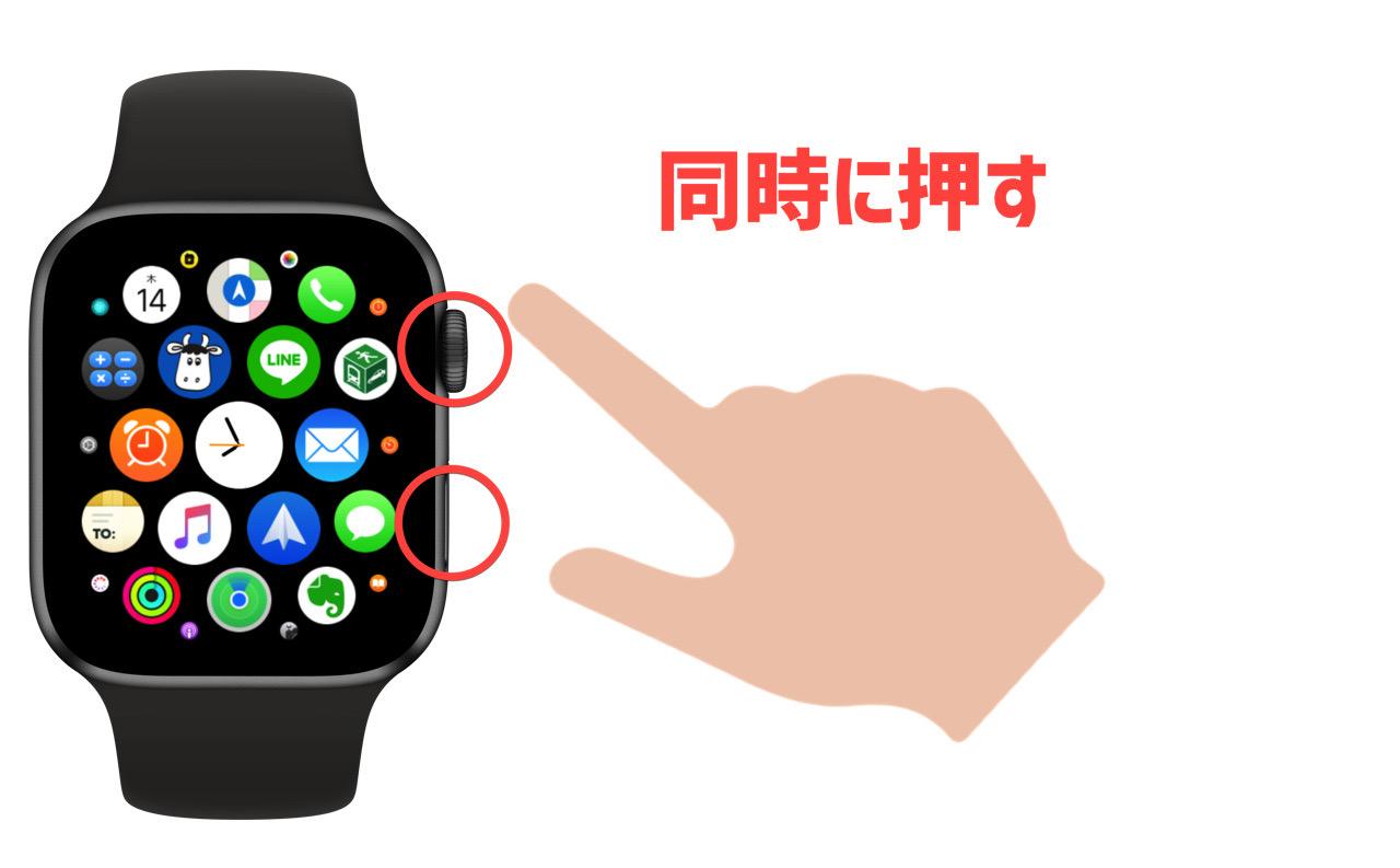 Apple Watch のデジタルクラウンとサイドボタンを同時に押す