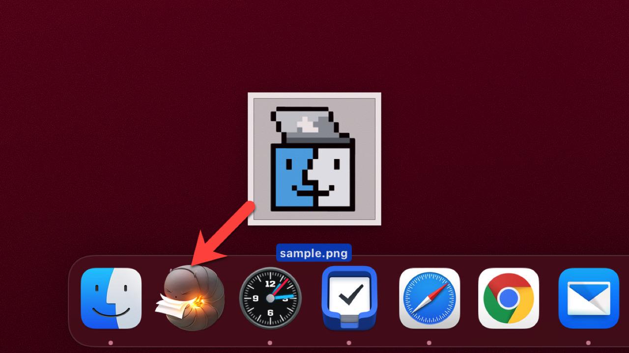 Kekaアイコンにファイルをドラッグ・アンド・ドロップ